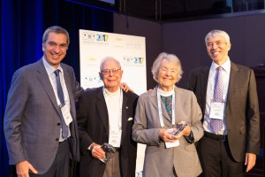 Pictured from left to right: SIOP Past President, Giorgio Perilongo, 2017 Lifetime Achievement Award recipients Dr. Giulio D'Angio and Dr. Audrey Evans, SIOP President, Eric Bouffet