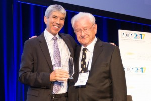 SIOP President Eric Bouffet with 2017 Lifetime Achievement Award recipient, Prof. Hans Peter Wagner.
