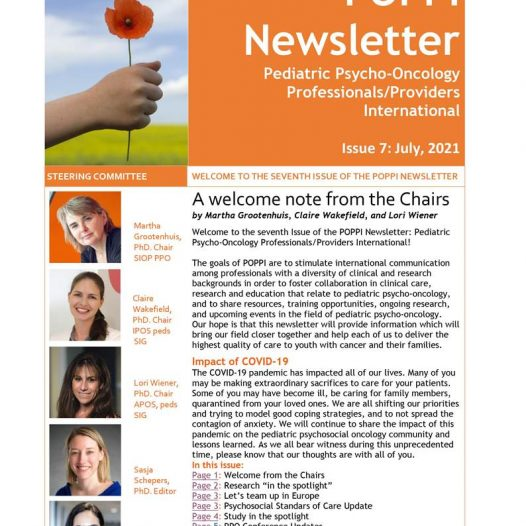7th POPPI newsletter for Pediatric Psycho-Oncology Professionals and Providers International (POPPI)